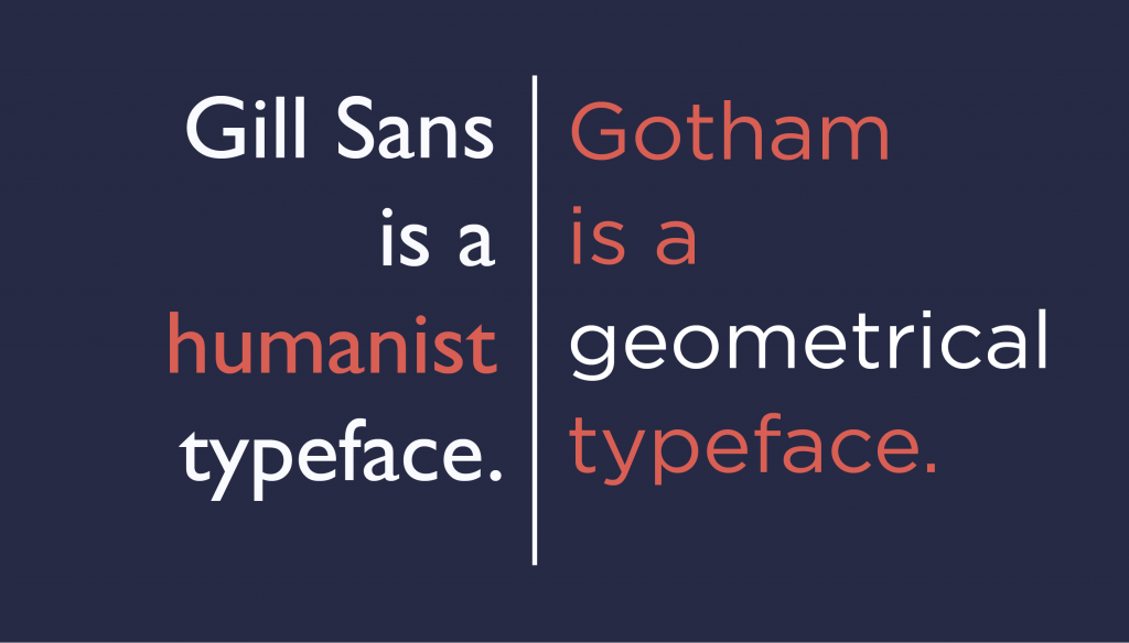 humanist and geometrical typeface examples