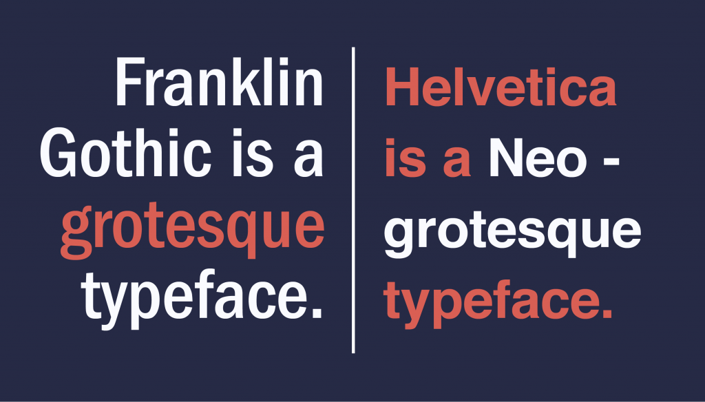 Frankiln Gothic and Helvetica as san serif fonts