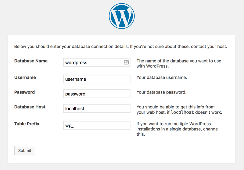 Wordpress instalation interface database connection