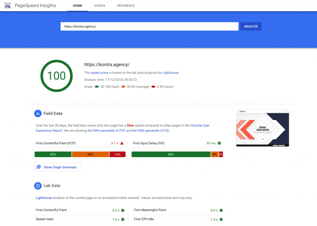 Google PageSpeed Insights example kontra agency