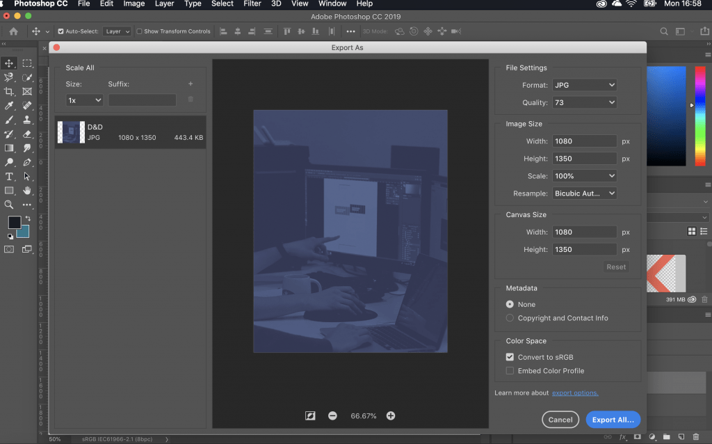 Exporting image for Instagram in Photoshop