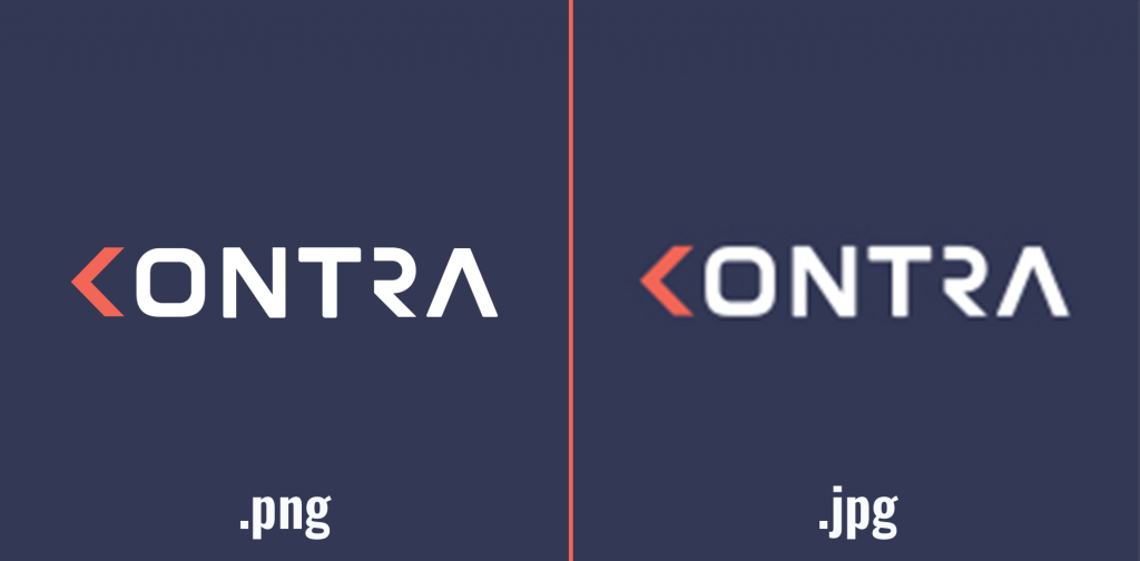 an example of what happens to a logo saved in jpg and png format