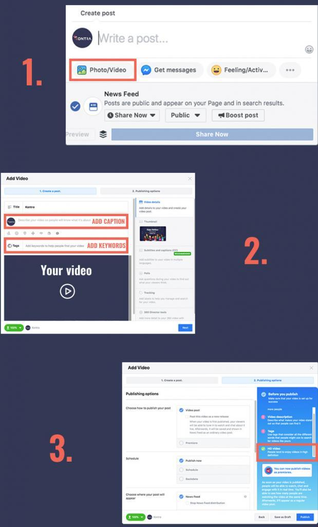 Facebook step by step HD video post