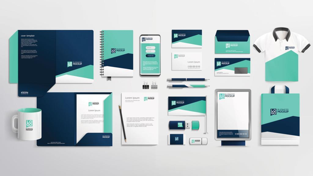 Example of brand visual identity mockup