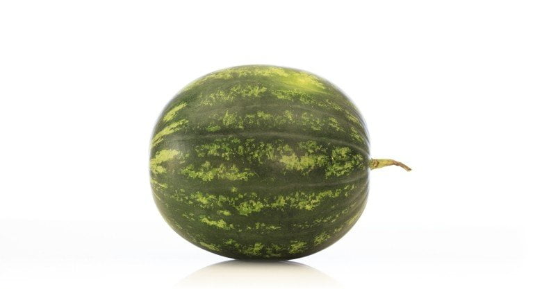A photograph of a watermelon on an isolated background