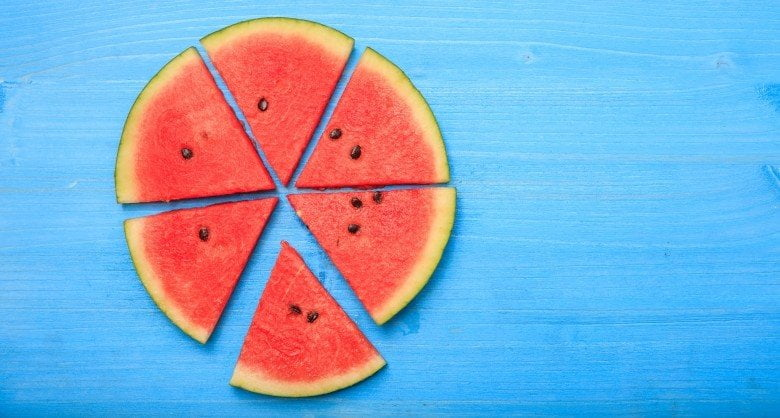 An image of sliced pieces of watermelon shot from above