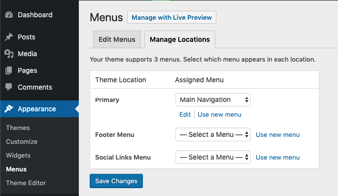 Step 2 WordPress custom menu