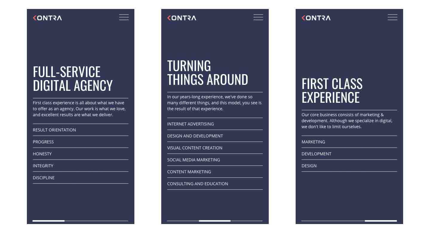 Kontra website home page - mobile