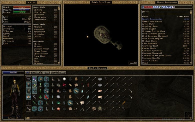 Morrowind user interface