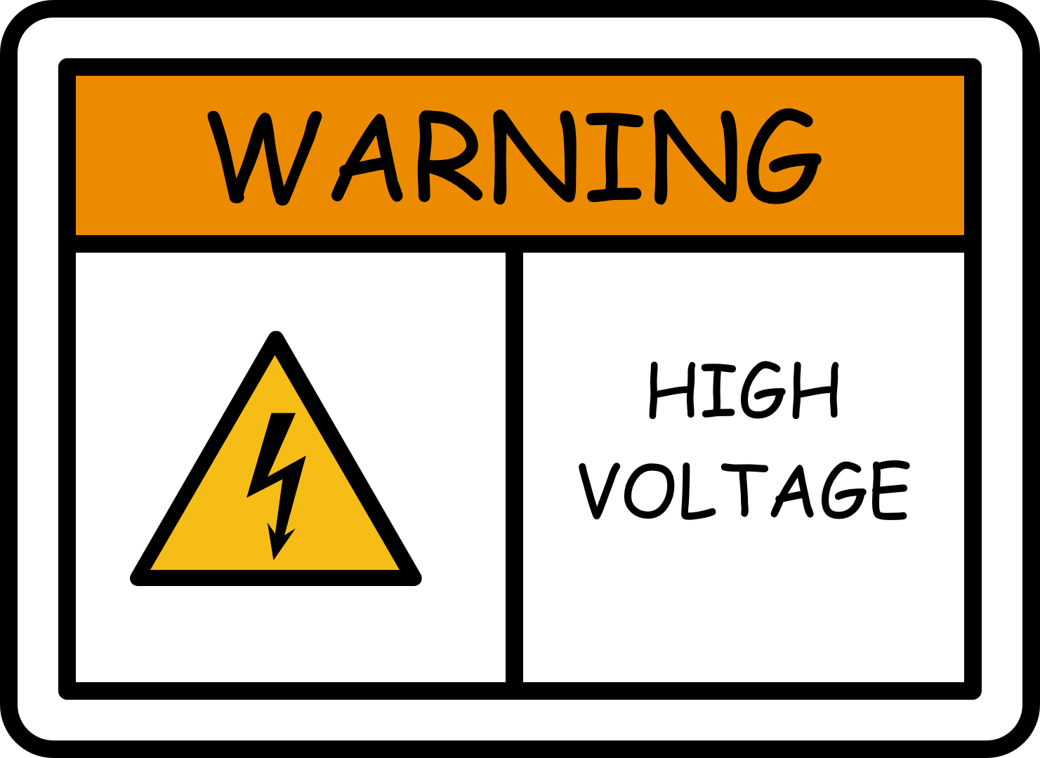 misuse of comic sans on warning - high voltage sign