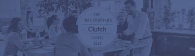 Clutch.co logo for top 1000 B2B companies in the world, and a group of young people in the background